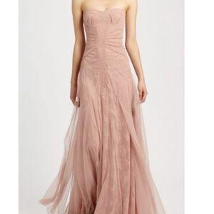 BCBGMaxAriza Moriza Powder Pink Lace & Tulle Gown